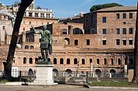 Statue of Emperor Trajan in front of Trajan´s Market, Rome, Latium, Italy
