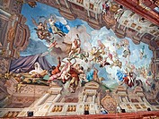 Painted ceiling of the Marbel Hall inside the Benedictine Abbey at Melk, Austria  The ceiling painting shows Pallas Athena on a chariot drawn by lions...