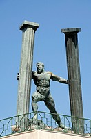 Hercules and Pillars Statue at the Entrance to Ceuta Harbour or Port Ceuta Spain