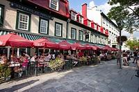 North America, Canada, Quebec, Quebec City, Rue Sainte Anne, sidewalk cafe