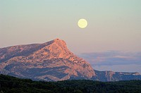 Full Moon or Moon Rise over Montagne Sainte-Victoire or Mont Sainte-Victoire near Aix-en-Provence or Aix en Provence France