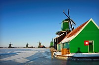 Traditional Dutch windmills, Zaanse Schans, Noord Holland, the Netherlands