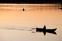 Fisherman trolling from a rowboat at sunset at river Oulujoki. Location Finland Tuira Oulujoki Oulu Finland Scandinavia Europe