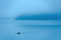 Europe, France, Var 83, Lake Saint Cassien, rowing in the early morning