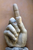 Hand of colossal statue of Constantine from the Basilica of Maxentium, courtyard of Palazzo dei Conservatori, Rome, Latium, Italy