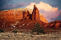 Chimney Rock, as the sun goes down, in Capitol Reef National Park, Utah, USA