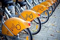 Bikes of Villo, the public rental service of Brussels, Belgium