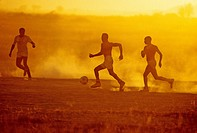 Hotel Staff Members playing Soccer at Amboseli National Park