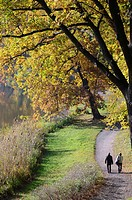 autumn landscape with walking persons