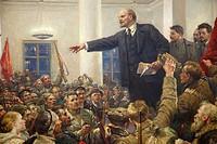 painting, lenin speaks for the revolution of october 1917, lenin museum, tampere, finland, europe