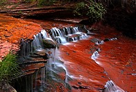 Water flows over the redrock terraces of North Creek at Zion National Park, Utah