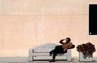 USA, California, Toluca Lake, Man Waiting for a Bus