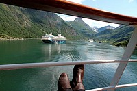 View from a cruise ship, Geirangerfjord, more og Romsdal, Norway