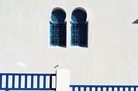 North Africa, Tunisia, Sidi Bou Said. White houses of the Medina. Detail of facade.