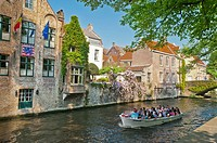 Boat, with, tourists, Rozenhoedkaai, Bruges, West, Flanders, Belgium