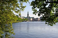 View of the Alster Lake in Hamburg, Germany