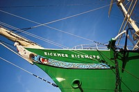 View of the old sailing ship Rickmer Rickmers in the port of Hamburg, Germany