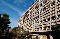 West Facade of the Cité Radieuse or Unité d´Habitation by Le Corbusier Marseille or Marseilles France
