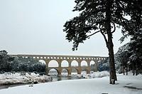 Pont du Gard in Winter Under Snow Gard Département France