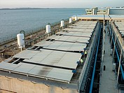 A saltwater desalinization plant in Singapore