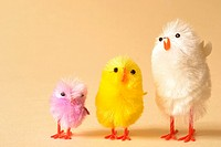 small chicks used as Easter basket decoration