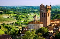 Duomo and Campanile with the Tuscan countryside beyond, San Miniato Tuscany Italy