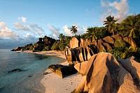 Anse Source d´Argent at sunset - La Digue Island - The Seychelles