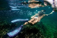 Attractive half nude woman underwater in Ibiza, diving over the prairies of Posidonia