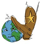 A boot trampling on earth
