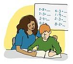 Female teacher teaching a boy multiplication