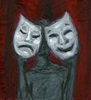 Holding sad and happy masks