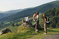 Pilgrims climb rapidly to Napoleon Road Roncesvalles, GR 65 way de Compostela, France
