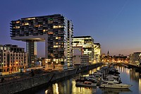 View of Rheinau Port and Crane Houses in Cologne at Night
