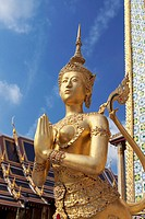 Statue of Kinnari, traditional symbol of feminine beauty at Wat Phra Kaeo, the Royal Grand Palace, Bangkok,Thailand