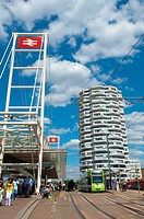 UK, Greater London, Croydon, East Croydon Train Station, Tram and Bus stops