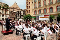Malaga Municipal Band in the week of cultures, province of Malaga, Andalucia, Spain