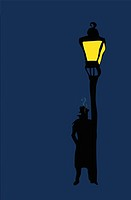 Detective and lamp post