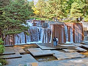 Ira Keller Fountain in downtown Portland, Oregon Originally named the Forecourt Fountain because it is located across the street from the Civic Audito...