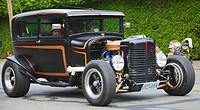 A classic hot rod made from a Ford model T