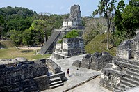 Temple II seen from the North Acropolis, Peten, Tikal, Guatemala