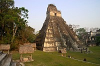 Temple I, Grand Jaguar, at sunset. Tikal, Petén, Guatemala.