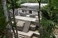 View pf Palace from Structure N at Courtyard 5, Nakum, Peten, Guatemala.