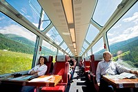 Switzerland, Canton Valais, Glacier express, tourists