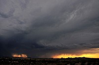 A microburst dumps rain around sunset in monsoon season in the Sonoran Desert,Tucson, Arizona, USA