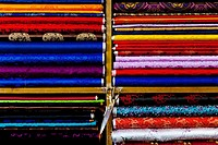 Woven fabrics for traditional dress of the Bhutanese people, Tailor shop Selphub Gyeltshen Tshongkhang, Thimphu, Bhutan, Asia.