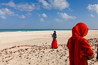Village girls on Amek beach, south coast, Socotra island, listed as World Heritage by UNESCO, Aden Governorate, Yemen, Arabia, West Asia.