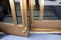 Brass and Glass Double French Doors Slightiy Opened