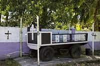 Funeral cart at the municipal cemetary on Isla Colon, Bocas del Toro, Panama