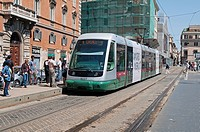 Italian Tram travels along the via di Torre Argentina, Rome  Italy, Europe
