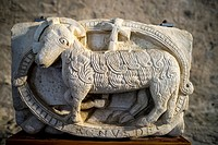 Agnus Dei - detail by Maestro de Cabestany of lost portal at monastery Sant Pere de Rodas  Catalonia, Spain